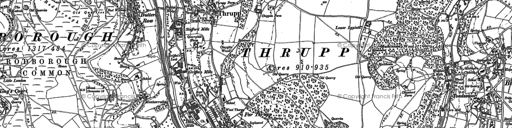 Old map of Thrupp in 1882
