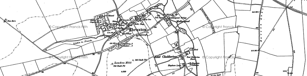 Old map of Thruxton in 1894