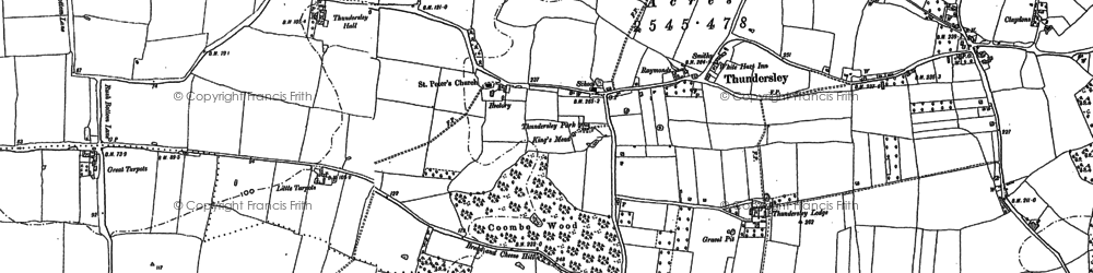 Old map of Thundersley in 1895
