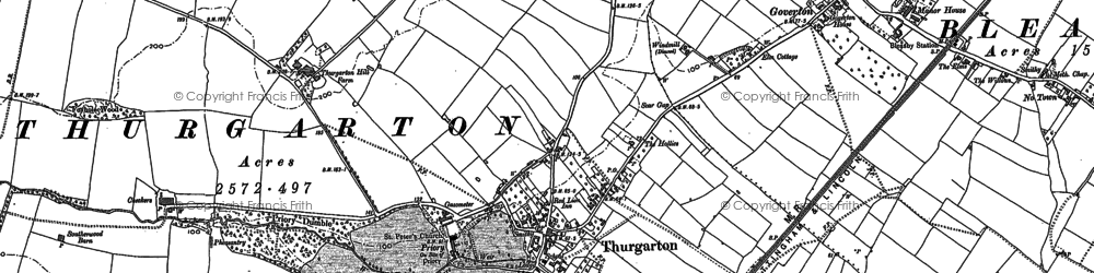 Old map of Thurgarton in 1883