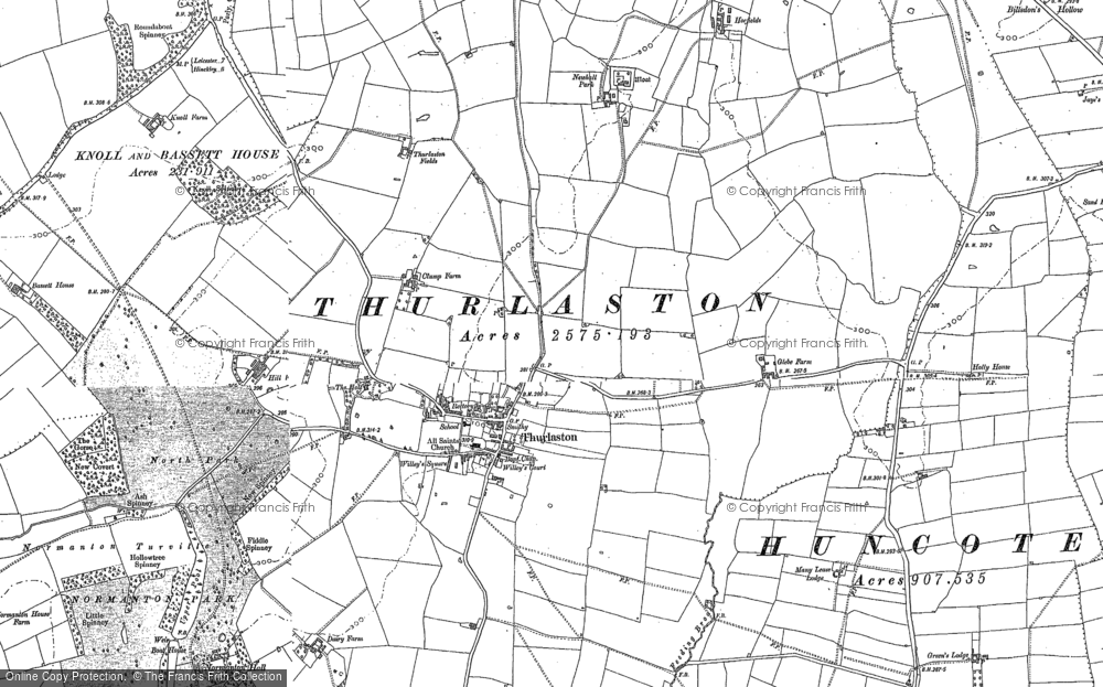 Old Map of Historic Map covering Leicester Forest West in 1885