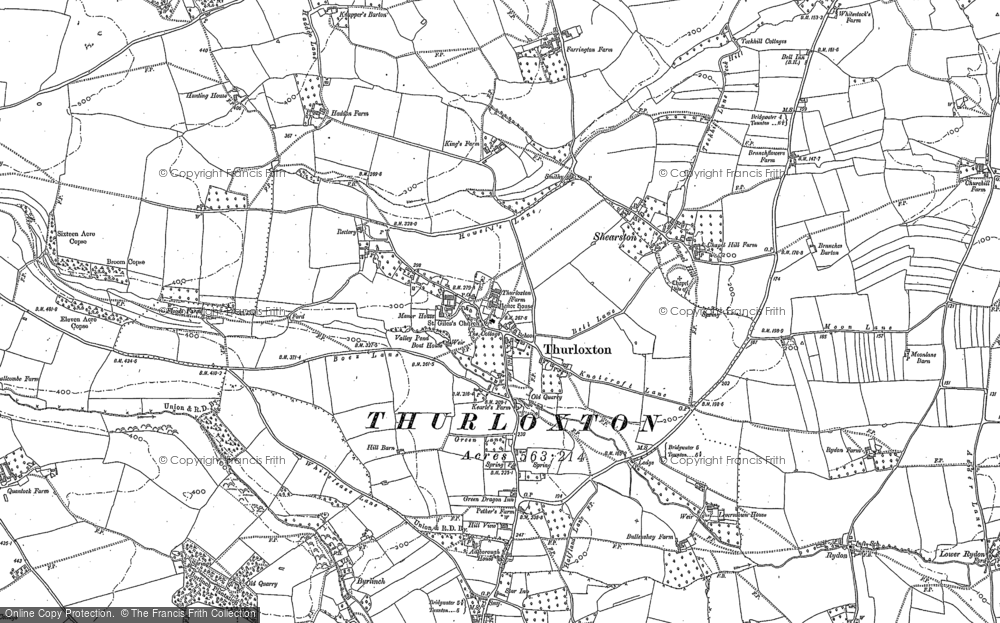 Old Map of Thurloxton, 1887 in 1887