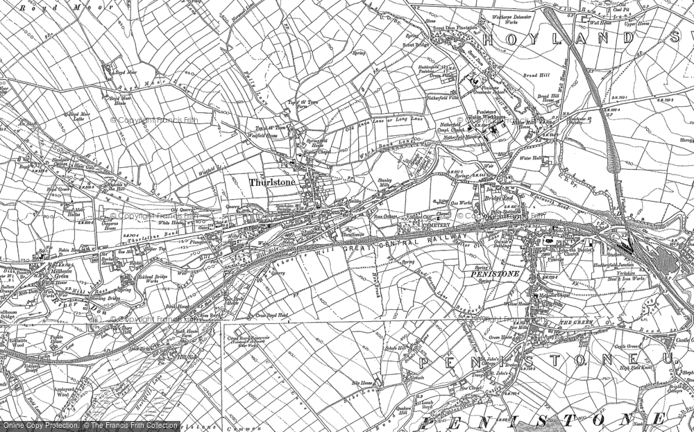 Old Map of Thurlstone, 1891 - 1892 in 1891