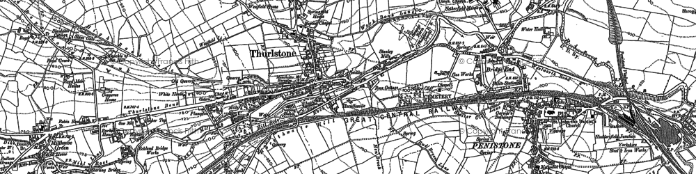Old map of Thurlstone in 1891