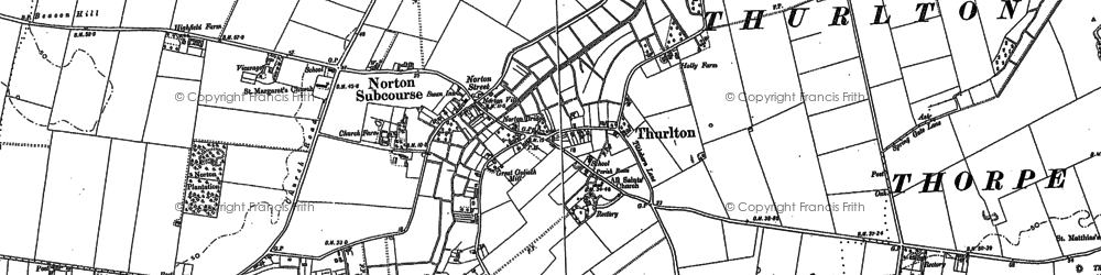 Old map of Thurlton in 1884