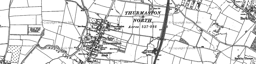 Old map of Thurmaston in 1883