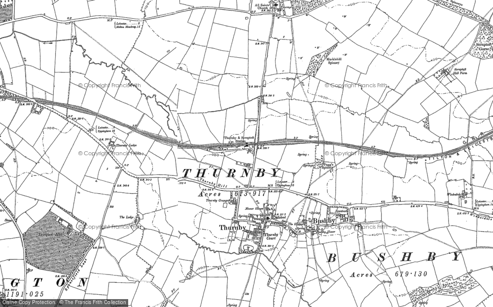 Old Map of Thurnby, 1884 - 1885 in 1884