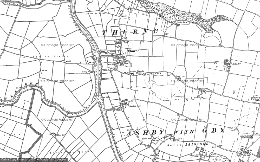Old Map of Historic Map covering Thurne Mouth in 1880
