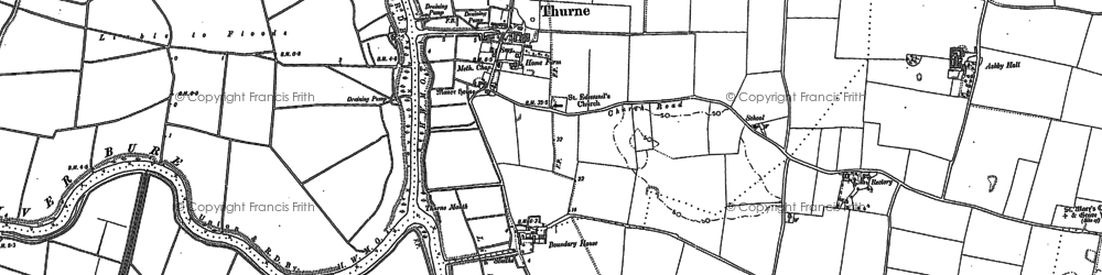 Old map of Thurne in 1883
