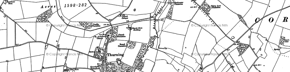 Old map of Thurning in 1885