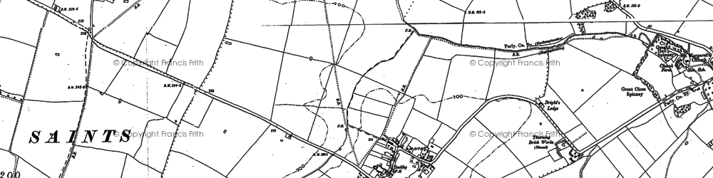 Old map of Thurning Lodge in 1899