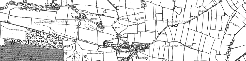 Old map of Thursby in 1890