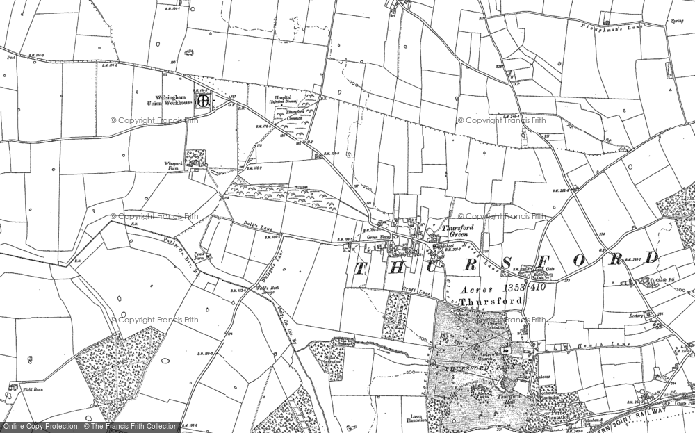 Old Map of Historic Map covering Thursford Green in 1885