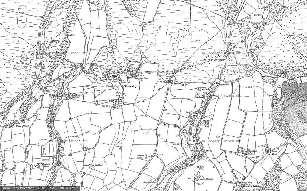 Map of Thursley, 1895 - 1913