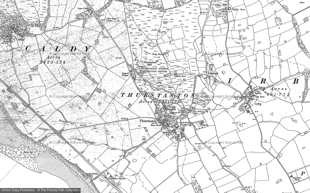 Old Map of Historic Map covering Thurstaston Common in 1898