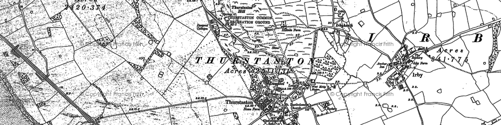 Old map of Thurstaston Hill in 1898