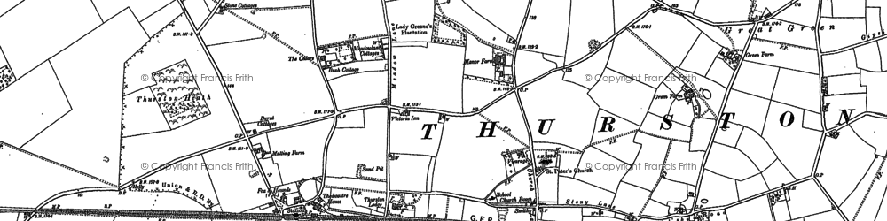 Old map of Thurston in 1883