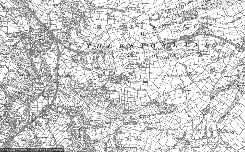 Old Map of Thurstonland, 1888 - 1892 in 1888