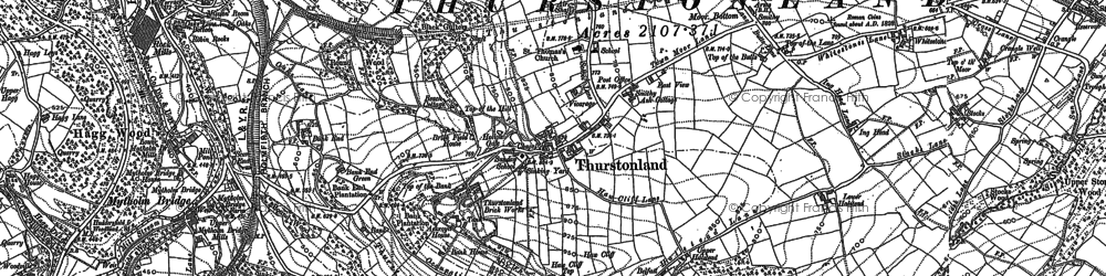 Old map of Thurstonland in 1888
