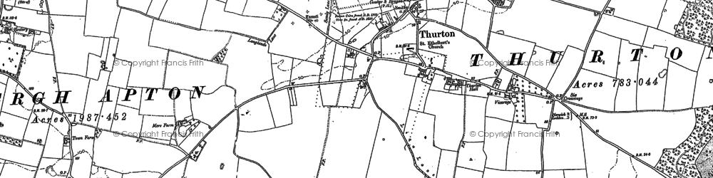 Old map of Thurton in 1881
