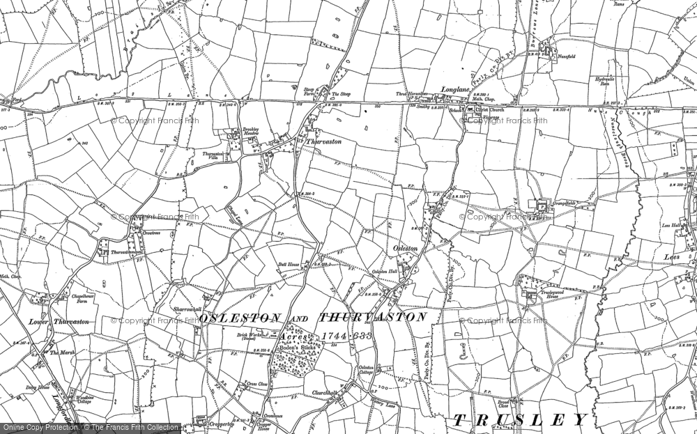 Old Map of Thurvaston, 1880 - 1881 in 1880