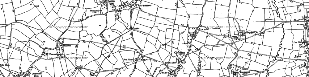 Old map of Thurvaston in 1880