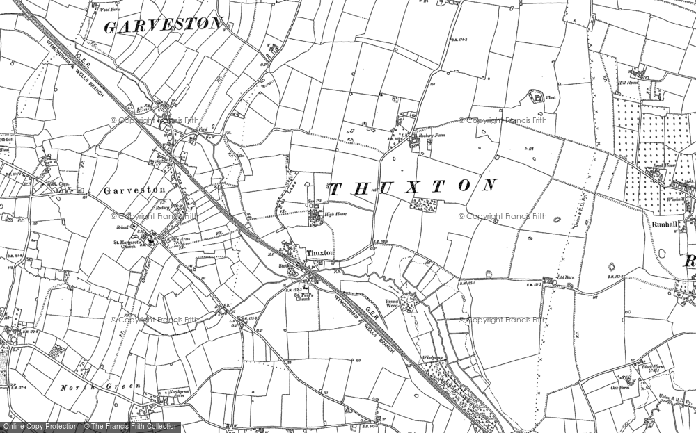 Old Map of Historic Map covering Lings, The in 1882