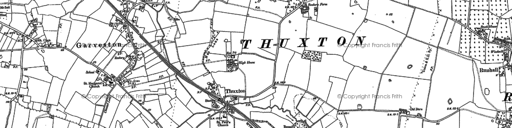 Old map of Thuxton in 1882