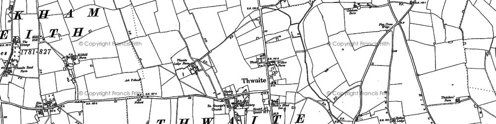 Old map of Thwaite in 1884