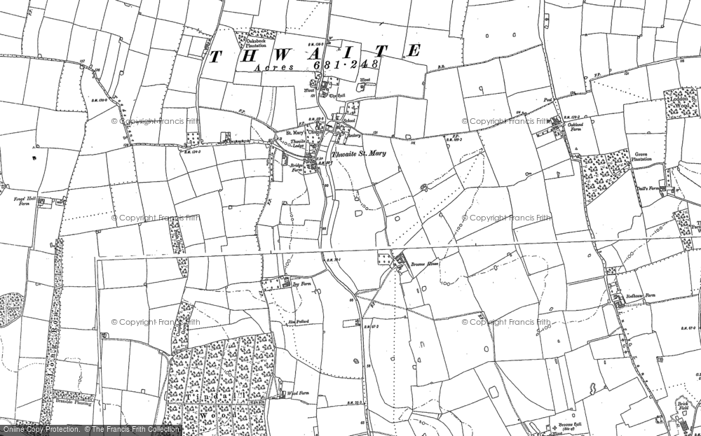 Old Map of Historic Map covering Tindall Wood in 1884