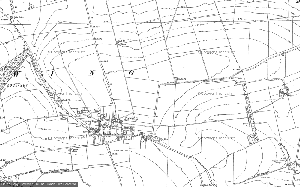 Old Map of Thwing, 1888 in 1888