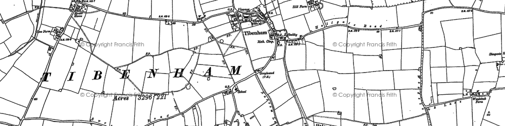 Old map of Tibenham in 1883