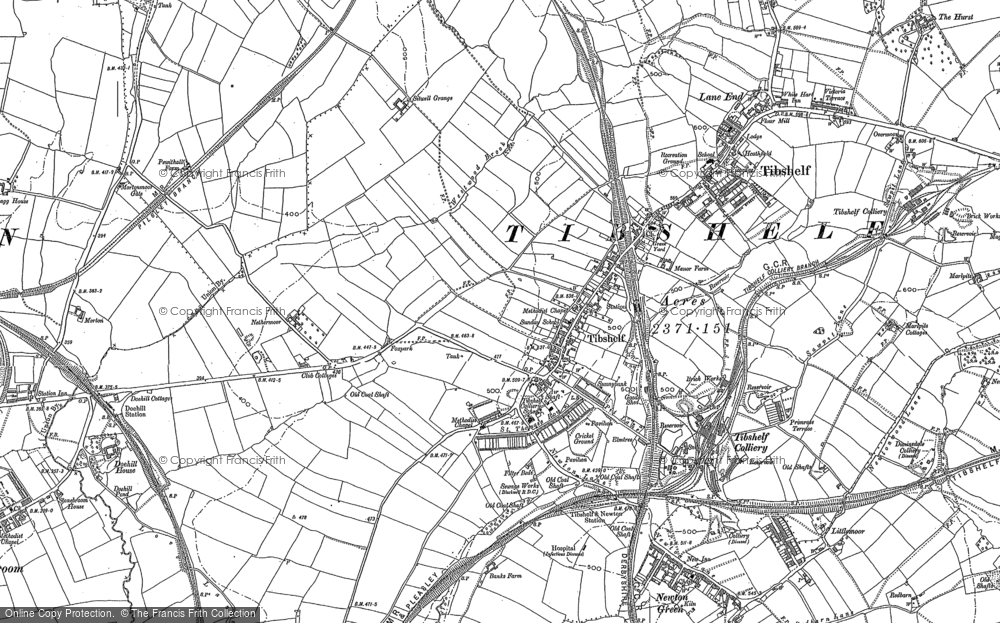 Old Map of Historic Map covering Tibshelf Services in 1877