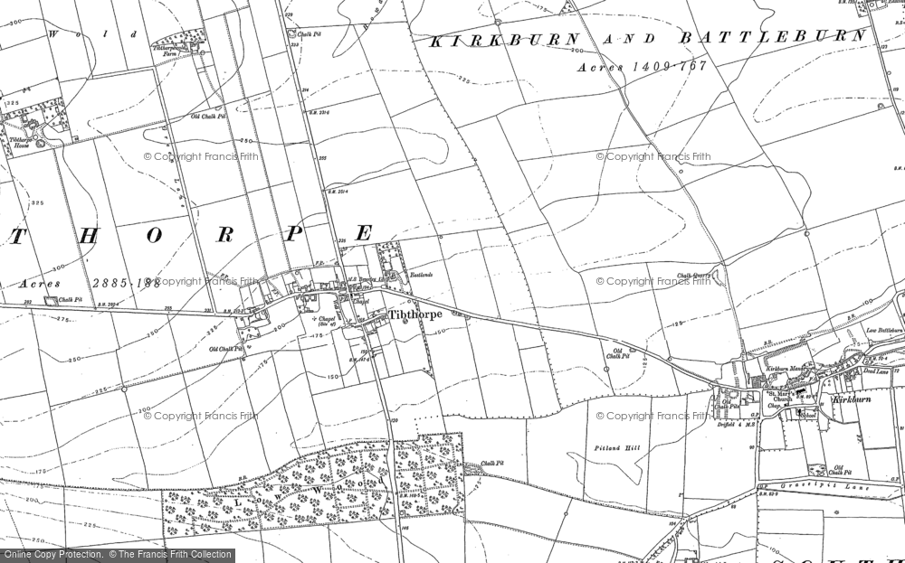 Old Map of Historic Map covering Tibthorpe Manor in 1890
