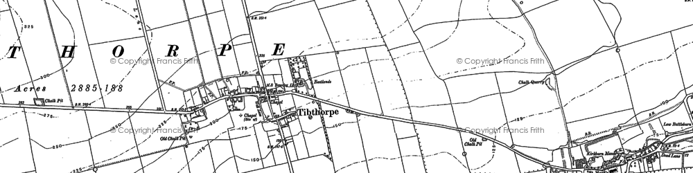 Old map of Tibthorpe Ho in 1890
