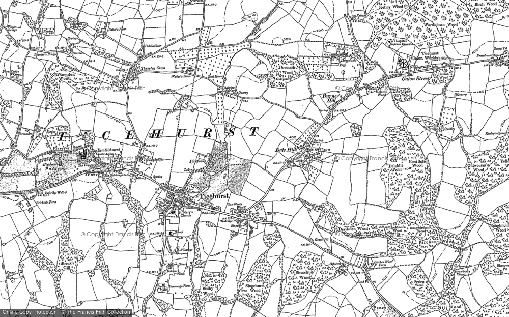 Old Map of Ticehurst, 1908 in 1908