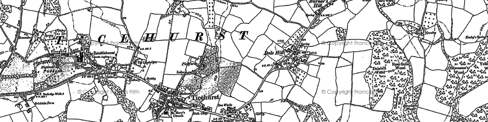 Old map of Ticehurst in 1908