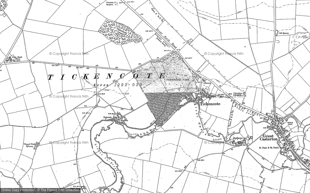 Old Map of Historic Map covering Tickencote Warren in 1885