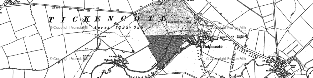 Old map of Tickencote Park in 1885