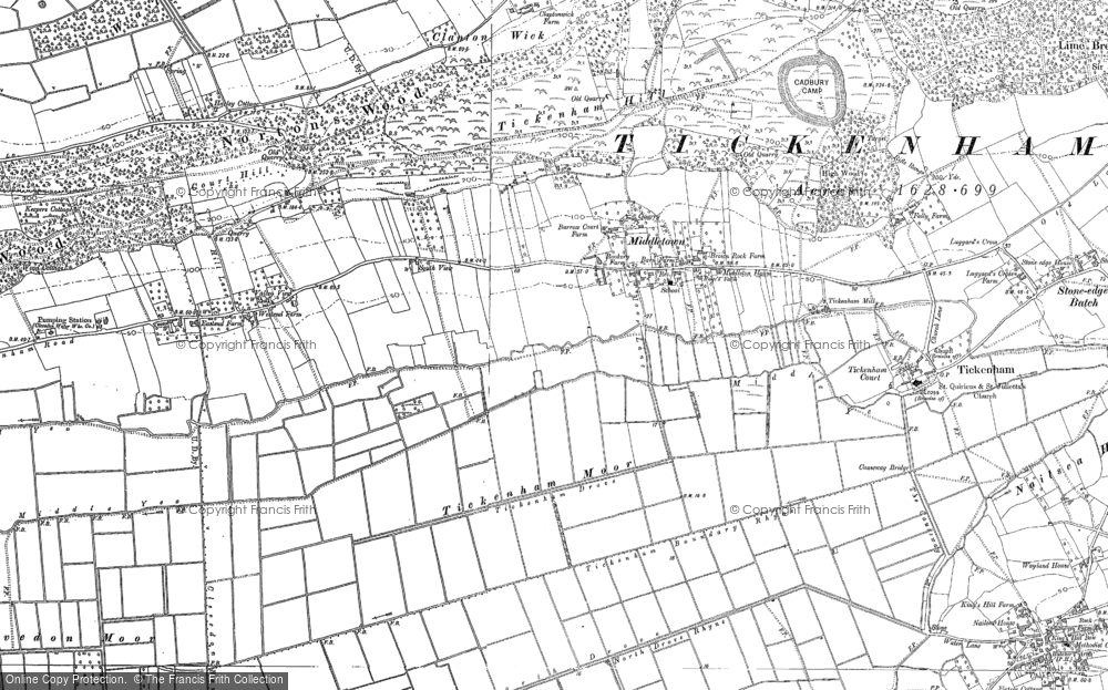 Old Map of Historic Map covering Tickenham Moor in 1883
