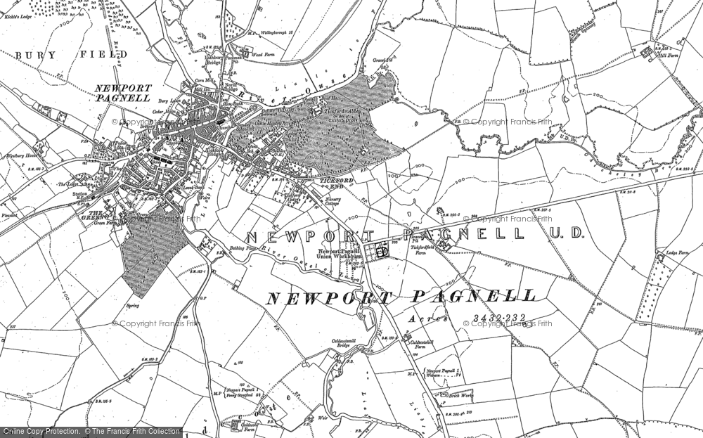 Old Map of Tickford End, 1924 in 1924