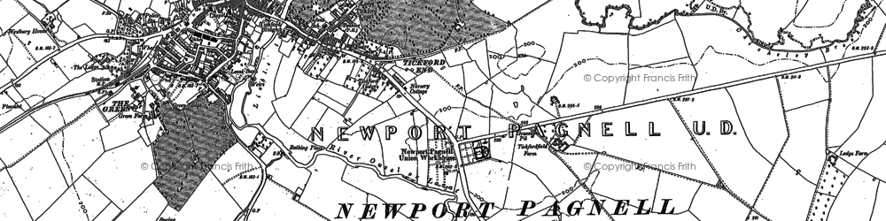 Old map of Tickford End in 1924