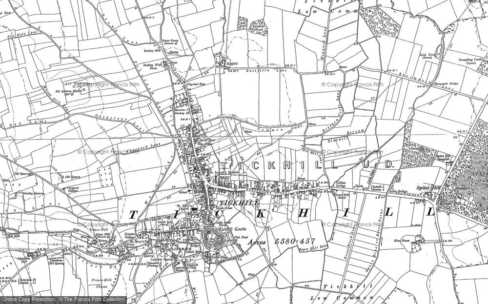 Old Map of Historic Map covering All Hallows Hill in 1901
