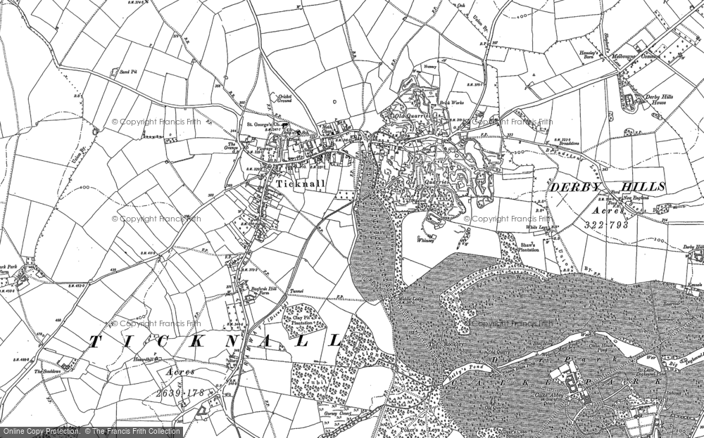 Old Map of Ticknall, 1881 - 1899 in 1881