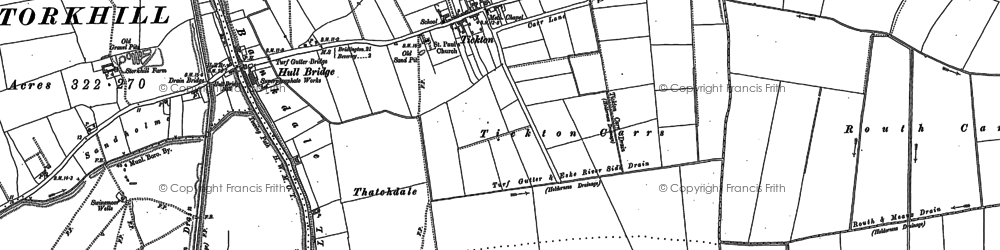 Old map of Tickton in 1850