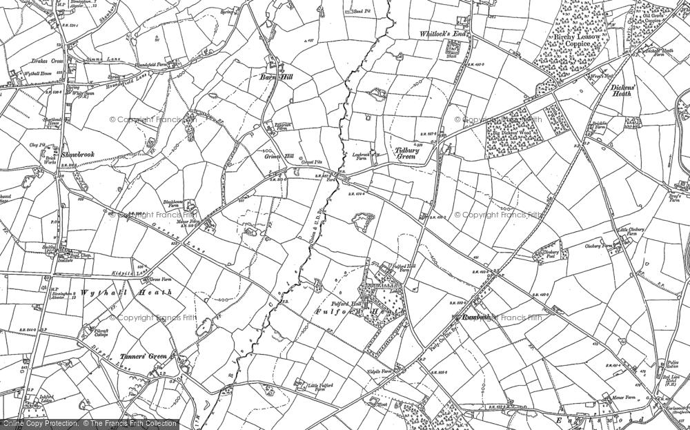 Old Map of Tidbury Green, 1886 - 1903 in 1886