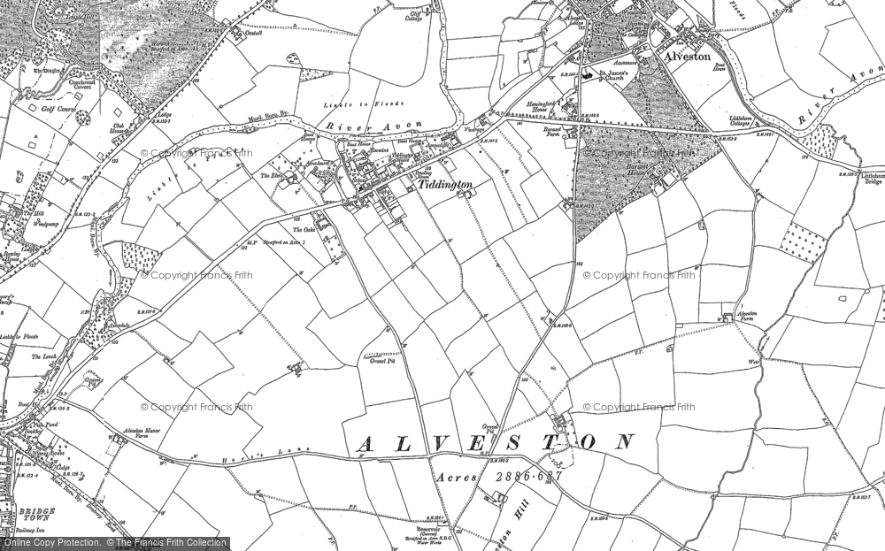 Old Map of Historic Map covering August Hill in 1885