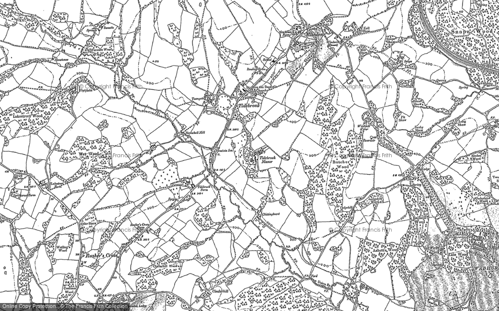 Old Map of Historic Map covering Tidebrook Manor in 1897