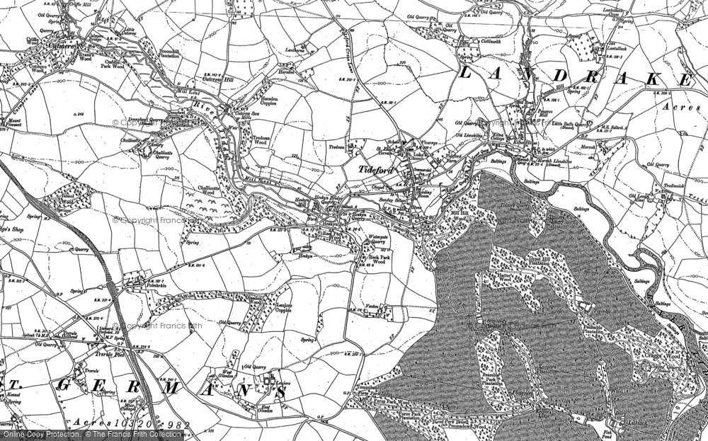 Old Map of Historic Map covering Lantallack Cross in 1882