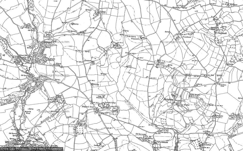 Old Map of Tideford Cross, 1882 - 1888 in 1882
